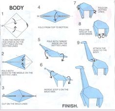 origami deer instructions 2 (maybe similar to the cow? - this giraffe body is the same for the deer)