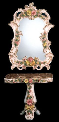 "NEW Capodimonte Mirror & Console Set w/Flowers Large Made in Italy     Mirror & Console Set in the Brown & Gold Finish  Mirror Size: 47"" High x 32"" Wide  Console Size: 28"" High x 34"" Wide  Hand Painted  Adorned with Fired 24 Karat Gold Paint  ebay."