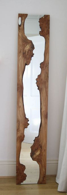 Split wood mirror. Check out more at reclaimdesign.co
