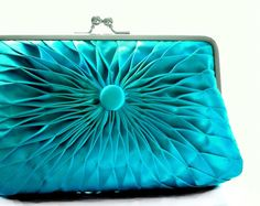 Turquoise Blue Satin Button Clutch  Size Large  by HeidiCreations, $120.00