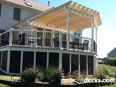 This deck has the best of both worlds. Sun on one side and a pressure treated pergola on the other Pergola Canopy, Metal Pergola, Deck With Pergola, Pergola Shade, Pergola Plans, Diy Pergola, Pergola Kits, Pergola Ideas, Outdoor Ideas