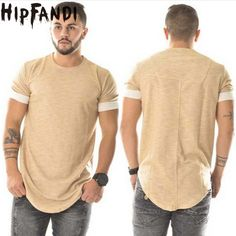HIPFANDI Fashion T shirt homme Mens T shirts Hip Hop Swag T shirt Streetwear brand-Clothing apricot Men solid T-shirt Hip Hop