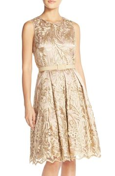 $178 instead of $240  Eliza J Belted Embroidered Charmeuse Fit & Flare Dress available at #Nordstrom