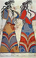 Bronze Age.  Minoan women wearing the long  dresses with low necks, typical of the period.