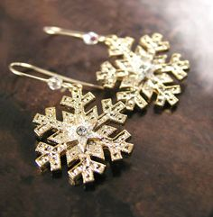 Gold Snowflake Earrings 14K Gold Fill or Silver by DorotaJewelry