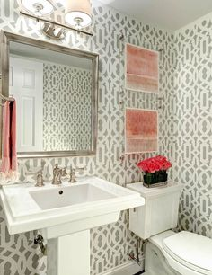 Gorgeous powder room with gray trellis wallpaper, Kelly Wearstler Imperial Trellis ...