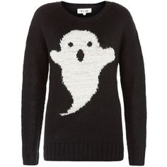 Black Ghost Knitted Jumper (53 BRL) ❤ liked on Polyvore featuring tops, sweaters, shirts, jumpers, long sleeve tops, crew-neck sweaters, long sleeve sweaters, long sleeve shirts and extra long sleeve shirts