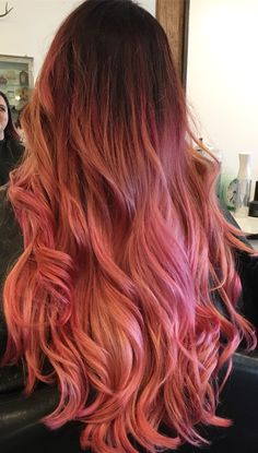 Peach Rose Gold with hot pink/purple roots  @revival_510
