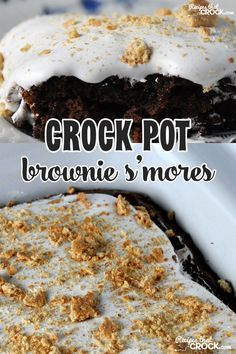 You don't have to wait for bonfires to have the yummy taste of s'mores with these Crock Pot Brownie S'mores!