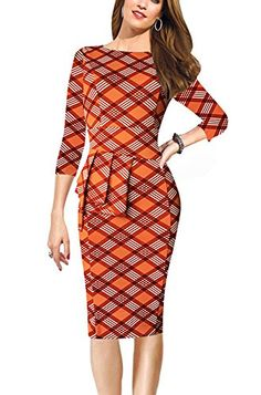 REPHYLLIS Women 34 Sleeve OL Business Working Casual Cocktail Evening Party Peplum Bodycon Pencil Dress Orange Plaid XL >>> More info could be found at the image url.