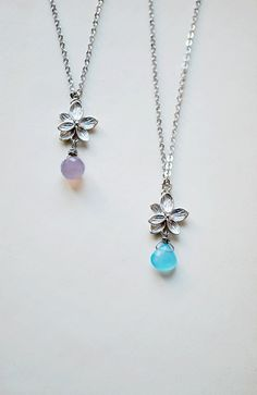 Pretty gemstones necklaces - princess length jewels with silver flowers and gemstone drops - lavender and baby blue chalcedony, beautifully cut.