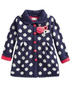 First Impressions Baby Girls' Contrast-Dot Sweater, Only at Macy's