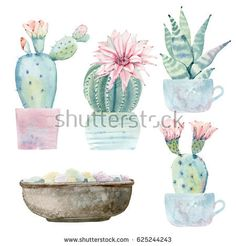 Hand drawn watercolor saguaro cactus set. It's perfect for cards, posters, banners, invitations, greeting cards, prints.