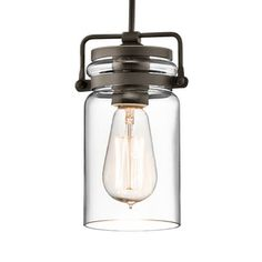 Kichler Lighting Brinley 4.75-in W Olde Bronze Mini Pendant Light with Clear Glass Shade