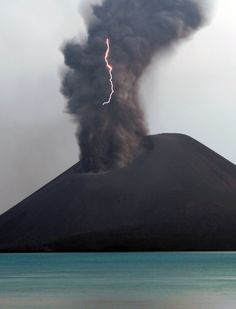 Krakatoa. November 2007 in the ash cloud. The friction caused by millions of ash particles colliding can sometimes create a static discharge as lightning. George Kourounis