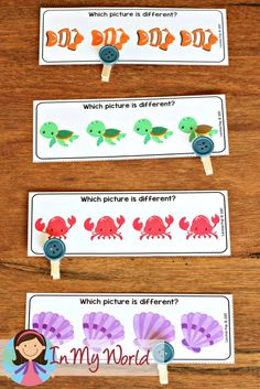 Ocean Preschool Centers Which Picture is Different? cards