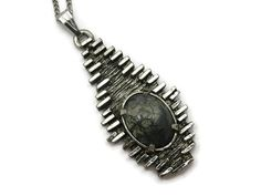 Brutalist Jewelry  Modernist Moss Agate Pendant Pewter