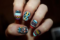 Tribal/Aztec Illuminati Nail Art