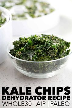 This Kale Chips (Dehydrator recipe) is so easy and the best way to get crunchy, garlic Parmesan chips that fit the AIP diet! I guarantee your family will love these kid friendly kale chips. This recipe suits the Vegan, Paleo and AIP diets. Homemade Kale Chips, Kale Chip Recipes, Vegetarian Recipes, Healthy Recipes, Diet Recipes, Paleo Appetizers, Appetizer Recipes, Parmesan Chips, Whole 30 Recipes