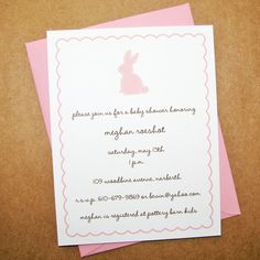 Blossom Baby Bunny Baby Shower Invitations or Birthday Invitations with Blossom Scalloped Border