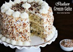 This cake is perfection! Italian cream cake is a special cake for a special occasion. Frosted layers of cake with cream cheese, vanilla and almond extract. Italian Cream Cheese Cake, Cake With Cream Cheese, Italian Rum Cake, Köstliche Desserts, Delicious Desserts, Best Christmas Cake Recipe, Christmas Cakes, Cupcake Cakes, Cupcakes