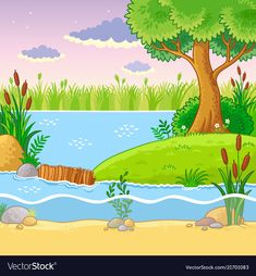 Buy Vector Illustration with a Dam of Beavers by svaga on GraphicRiver. Vector illustration with a dam of beavers. Nature in the cartoon style. Illustration Vector, Landscape Illustration, Book Illustration, Illustrations Posters, Art Drawings For Kids, Easy Drawings, Free Vector Images, Vector Free, Drawing Scenery