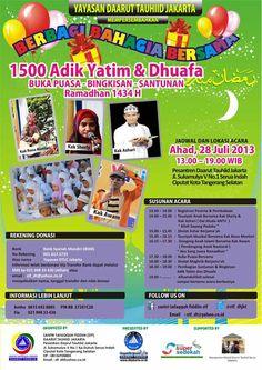 Berbagi Bahagia Bersama 1500 Adik Yatim & Dhuafa - Acara Daarut Tauhid Jakarta. Bagi Updaters yang ingin berpartisipasi di acara Berbagi Bahagia Bersama 1500 Adik Yatim & Dhuafa - See more at: http://www.acaraapa.com/event/1262_berbagi_bahagia_bersama_1500_adik_yatim__dhuafa#sthash.q62RnQHc.dpuf