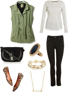 Olive cargo vest, stripe top, black or tan skinny jeans