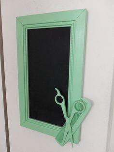mint green hairstylist scissors chalkboard by CheeseCrafty on Etsy, $23.00