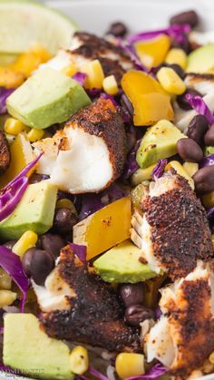 Healthy, fresh, gluten free Blackened Fish Taco Bowls recipe! Cook it in minutes and serve over rice.