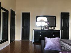 Painted doors black in purple and gray master. Paint Doors Black, Black Doors, Painted Doors, Behr, Home Reno, Mocha, Gray, Purple, House