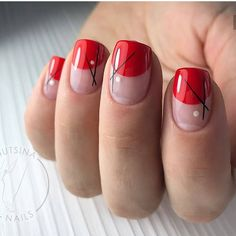 Top 150 Red Nail Art Ideas for women - Minimalist Nails, Diy Nails, Cute Nails, Red Manicure, Romantic Nails, Red Nail Art, Black Nail, Red Black, Space Nails
