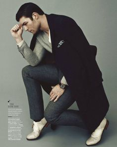 """""""The Thinker"""" reinvented into a #fashion-related ad. Wonderful #modeling pose."""