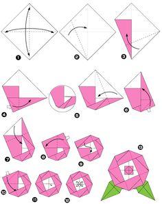 Diagramme d'origami de pivoine, étape 1