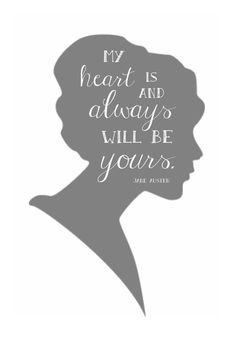 My heart is and always will be yours. {Jane Austen, Sense & Sensibility} Created to compliment our Jane Austen Pride & Prejudice Collection, this cameo quote print is a perfect element to use a party decor, or a sweet touch of vintage elegance for your home. And, of course, since its a Jane Austen quote, all your literary friends will be wildly impressed, too. :) This listing is for an 8x10 digital file of this print, which may be printed on a home printer (card stock is recommended), o.
