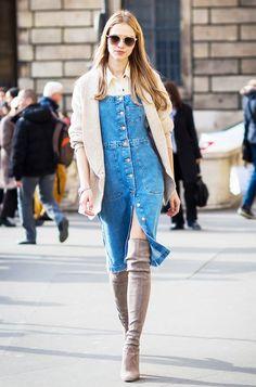 How to Style a Denim Dress Like a Street Style Star via @WhoWhatWear