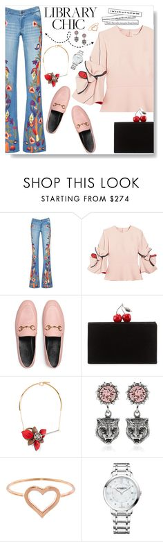 """""""Library Chic"""" by sarahm2002 ❤ liked on Polyvore featuring Alice + Olivia, Roksanda, Gucci, Edie Parker, Marni, Jennifer Meyer Jewelry and Baume & Mercier"""