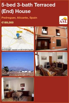 Terraced (End) House in Pedreguer, Alicante, Spain Alicante Spain, Elegant Kitchens, Double Bedroom, Patio Doors, Gas Fireplace, Jacuzzi, Open Plan, Stairways, Townhouse