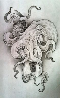 Octopus w/ guitar by brandonald