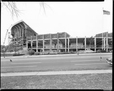 Memorial Stadium under construction. Description: Street, Novemver 1953 Source: Blakeslee Lane, Inc. (BLI) Collection Location: Special Collections, Langsdale Library, University of Baltimore University Of Baltimore, Baltimore City, Baltimore Maryland, University Of Kentucky, Baltimore Orioles, Library University, Arena Football, Football Stadiums, Baseball Players