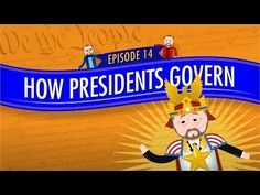 """How Presidents Govern: Crash Course Government and Politics """"This week Craig Benzine talks about how the president gets things done. Filling the role of the executive branch is a pretty big job -. Branches Of Government, Us Government, Executive Branch, Executive Office, The Daily Show, Us Politics, Forensics, Criminal Justice, Social Studies"""