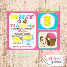 Personalized Girls Bright Puppy Party Dog Party Birthday Invitation - PRINTABLE - YOU PRINT
