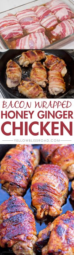 Bacon Wrapped Honey Ginger Chicken Thighs / YellowBlissRoad.com
