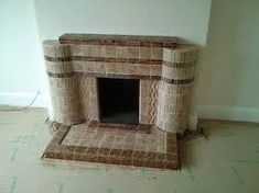 tiled fireplace transformation with Chesneys surround and woodburner 1930s Fireplace, Fireplace Design, Tiled Fireplace, 1930s House Interior, Fire Surround, Fireplaces, Art Deco, Living Room, Inspiration