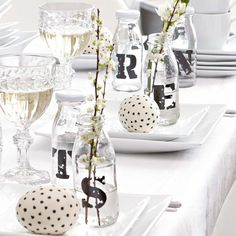 : OCCASION - Stencil your guests first initial onto glass bottles for place settings Table Setting Inspiration, Easter Table Settings, Easter Brunch, Easter Treats, Deco Table, Decoration Table, Seasonal Decor, Happy Easter, Easter Eggs