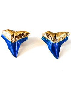 Electric Blue Large Shark Teeth Studs
