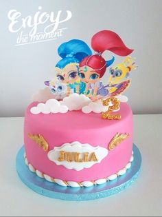 Shimmer and Shine birthday cake Shimmer And Shine Decorations, Shimmer And Shine Cake, Shimmer And Shine Characters, 3rd Birthday Cakes, 4th Birthday, Bday Girl, Diy Cake, Cute Cakes, Celebration Cakes