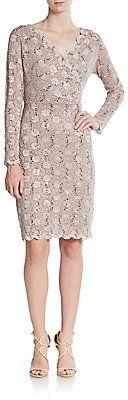 Beaded Lace Sheath Dress