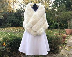 c75b490bc6c5 Etole mariée hiver fausse fourrure blanc - châle cape cache épaules fausse  fourrure imitation renard des