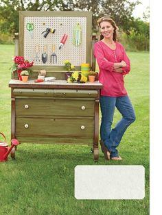 repurposed dresser for a gardener's workstation